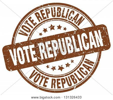Vote Republican Brown Grunge Round Vintage Rubber Stamp.vote Republican Stamp.vote Republican Round