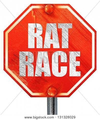 rat race, 3D rendering, a red stop sign