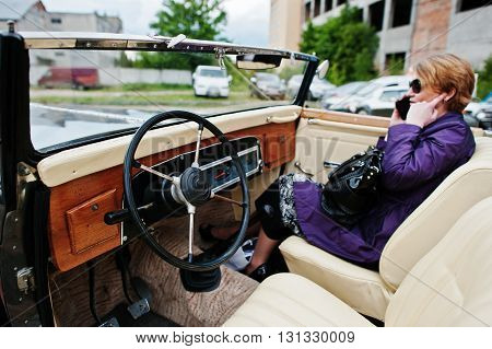 Podol, Ukraine - May 19, 2016: Dashboard And Steering Wheel Of Maybach Zeppelin Ds 8 Roadster, Luxur