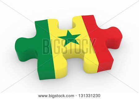 Senegalese Flag Puzzle Piece - Flag Of Senegal Jigsaw Piece 3D Illustration