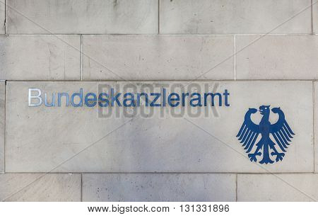 Government Of Germany. Bundeskanzleramt. The Inscription On The Wall Of A Building