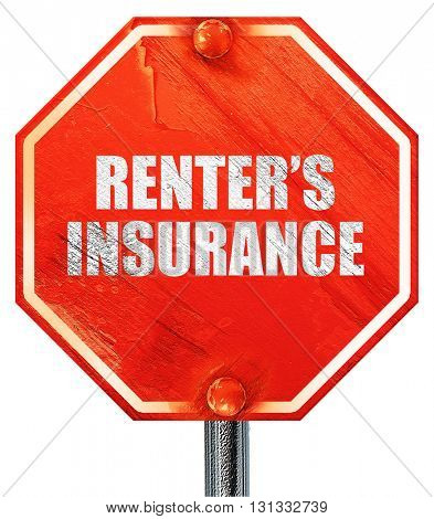 renter's insurance, 3D rendering, a red stop sign
