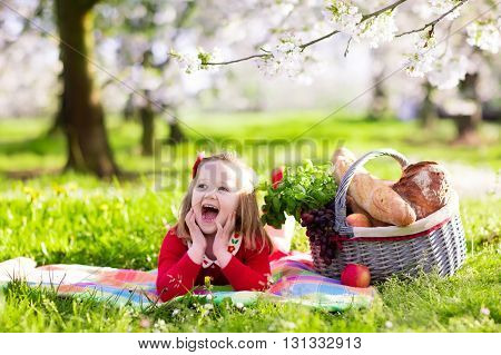 Little children eating lunch outdoors. Kids with picnic basket in spring garden with blooming apple and cherry tree. Preschooler girl relaxing on colorful blanket ready to eat and drink in summer park