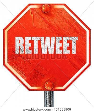retweet, 3D rendering, a red stop sign