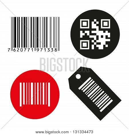 Vector icon illustration barcode. Button qrcode. isolated on white background.
