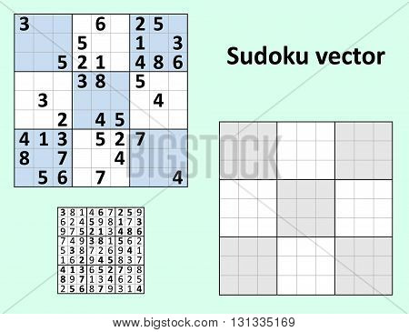 Symmetrical Sudoku with answers Vector set. Blank template.
