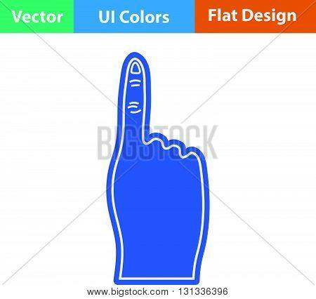 Fans foam finger icon. Flat design ui colors.. Vector illustration.