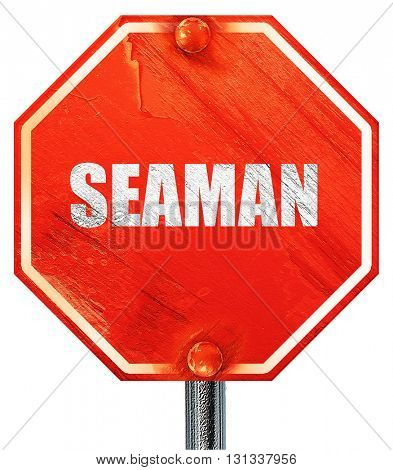 seaman, 3D rendering, a red stop sign