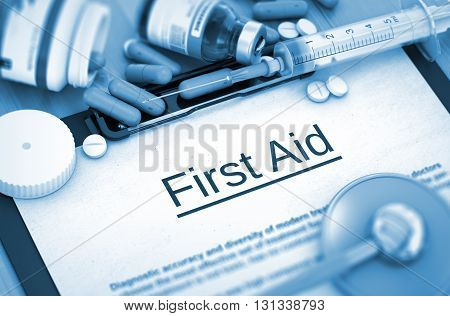 First Aid, Medical Concept. Composition of Medicaments. First Aid on Background of Medicaments Composition - Pills, Injections and Syringe. 3D Render.