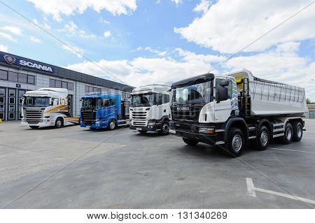 KIEV,UKRAINE - May,21 : Different types of trucks in the yard of service center Scania in Kiev,Ukraine May 21,2016.