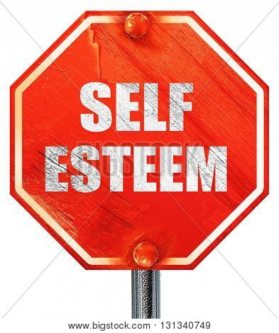 self esteem, 3D rendering, a red stop sign