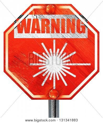 Laser warning sign, 3D rendering, a red stop sign