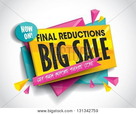 Big Sale layout design with abstract triangle elements. Vector illustration