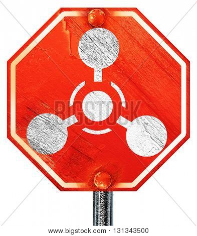 Chemical weapon sign, 3D rendering, a red stop sign