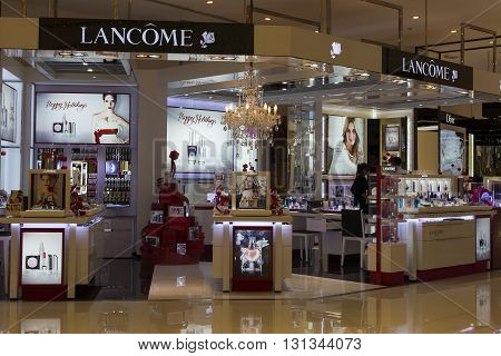 BANGKOK, THAILAND - NOVEMBER 19 2013 : Lancome shop in Siam Paragon Mall. With 300000 sq m of retail space Siam Paragon is one of the world's largest malls.