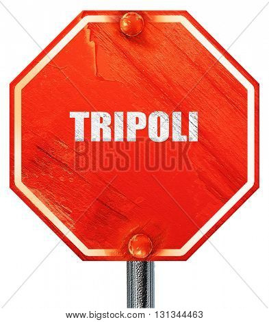 tripoli, 3D rendering, a red stop sign