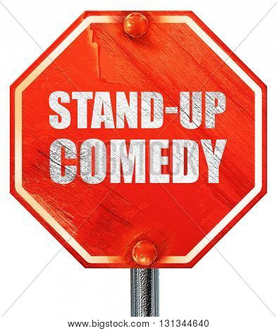 stand-up comedy, 3D rendering, a red stop sign