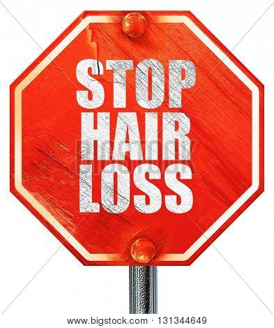 stop hair loss, 3D rendering, a red stop sign
