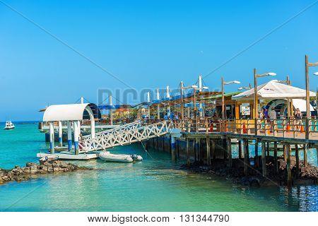 Pier In Puerto Ayora, Santa Cruz Island, The Galapagos.