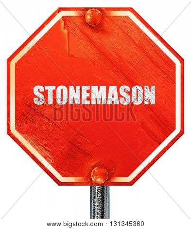 stonemason, 3D rendering, a red stop sign