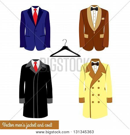 Men's classical suit vector illustration.Blue and broun businessman suit with red neck tie or black bowtie and white shirt. Men's jacket and coat, plastic hanger.Men's fashion