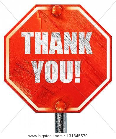 thank you, 3D rendering, a red stop sign