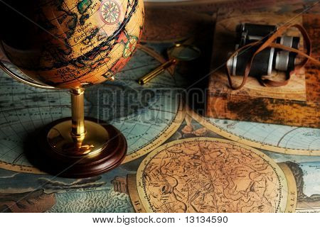 Old fashioned objects on the vintage map