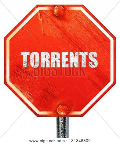 torrents, 3D rendering, a red stop sign