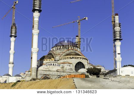 ISTANBUL TURKEY - APRIL 13 2016: New Camlica Mosque closeup Camlica Cami in Turkish. Camlica mosque is still under construction which is the largest mosque yet to be constructed in Turkey located on Camlica hill in Turkey. It is planning to open in 2016.