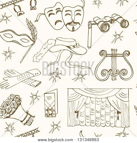 Hand drawn doodle Theater seamless pattern Masks Lyra Flowers Curtain stage Sketches. Hand-drawing. Vector illustration of for design and packages product.