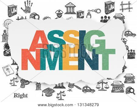 Law concept: Painted multicolor text Assignment on Torn Paper background with  Hand Drawn Law Icons