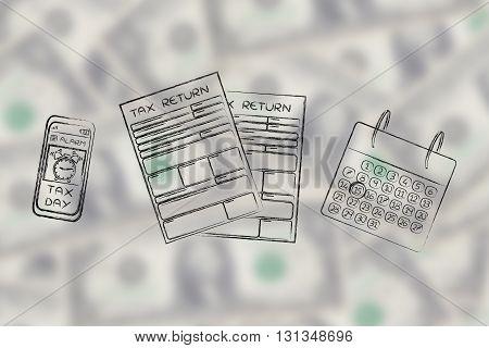 Tax Return Papers With Calendar & Phone Alert