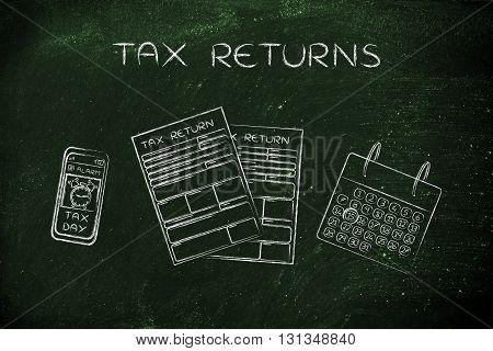 Tax Forms With Calendar & Phone Alert, Caption Tax Returns