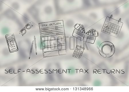 Tax Forms With Office Desk Objects & Phone Alert, Self-assessment
