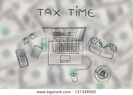 Tax Forms On Laptop Screen With Office Objects & Phone Alert, Tax Time