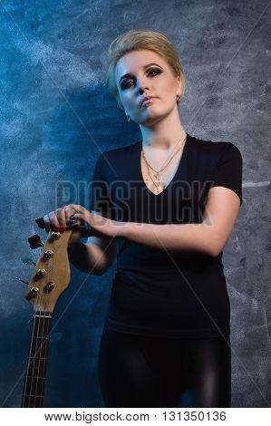 Rock Star Playing Bass Guitar