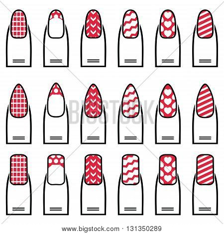 Female manicure  gel & hybrid nails  including shapes like almond, square, rounded nails with plain nail polish, French manicure, waves,  decorative dots, hearts diagonal lines in color