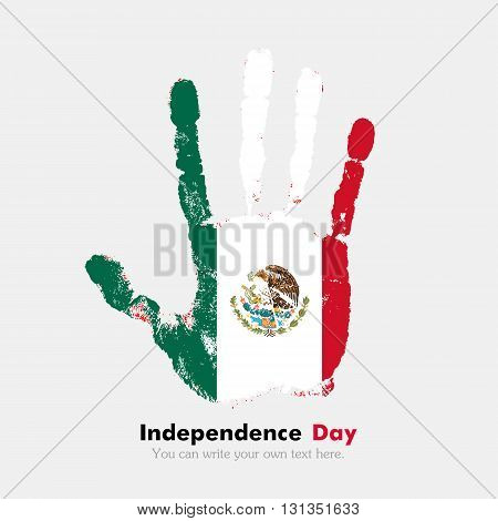 Hand print, which bears the Flag of Mexico. Independence Day. Grunge style. Grungy hand print with the flag. Hand print and five fingers. Used as an icon, card, greeting, printed materials.