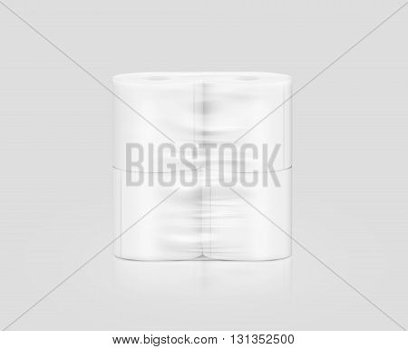 Blank white toilet paper roll packaging mockup isolated clipping path 3d illustration. Napkin clear package design mock up stand. Wc lavatory toilet paper rolls packing transparent wrap template.