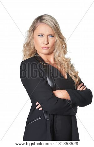 Beautiful Blond Busines Woman Giving Disapproving Look, Isolated On White