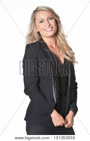 Happy Blond Busines Woman In Dark Suit, Isolated On White