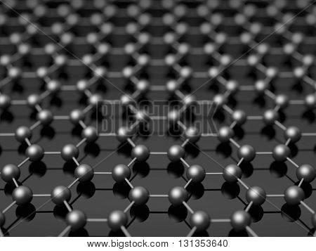 Nano black hexagonal structure background concept 3d illustration.