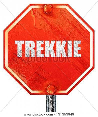 trekkie, 3D rendering, a red stop sign