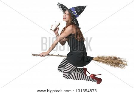 Beautiful woman wicked witch with ruby shoes with coffee