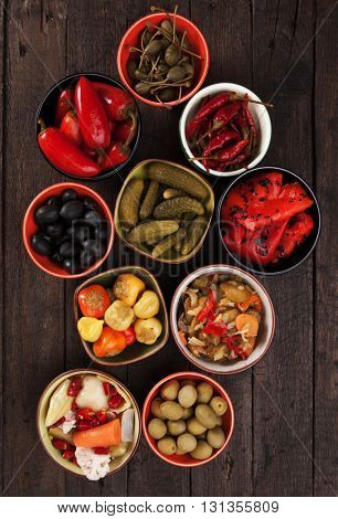 Pickled cucumber, chili peppers, olives and vegetables served as tapas or mezze