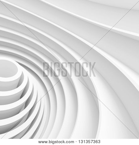 Abstract Architecture Background. White Wave Wallpaper. 3d Rendering Image of Minimal Design