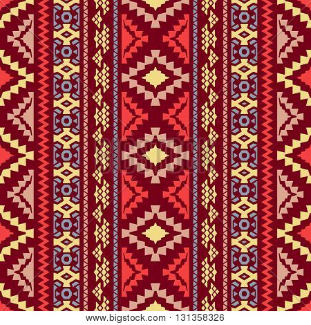 Seamless Geometric Background. Tribal And Ethnic Motifs. Red, Blue, Yellow And Pink Colors. Vector I