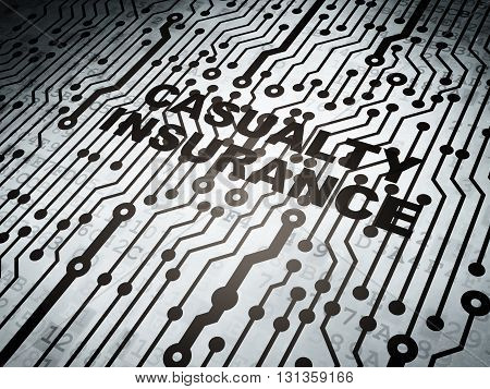 Insurance concept: circuit board with  word Casualty Insurance, 3D rendering