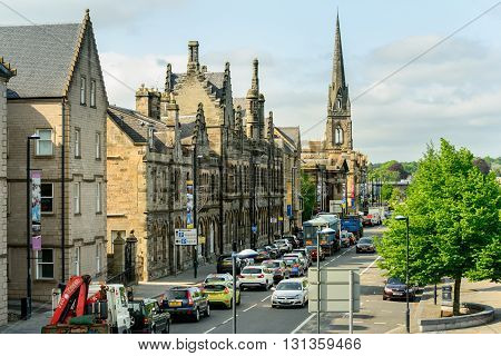 PERTH SCOTLAND - MAY 24 2016: Tay Street and the church of St. Mathew on the banks of the River Tay in Perth Scotland.