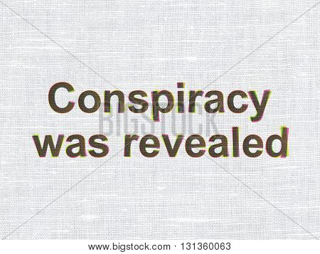 Politics concept: CMYK Conspiracy Was Revealed on linen fabric texture background